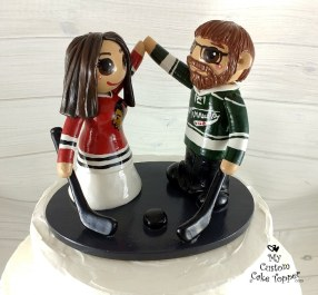 Bride and Groom Hockey Fans Topper