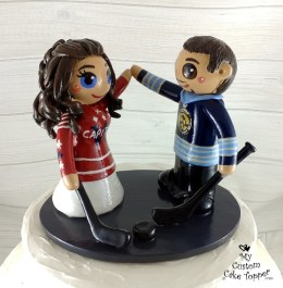 Bride and Groom High Fiving Hockey Lovers Cake Topper