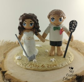 Bride and Groom Sports on Beach Lacrosse and Golf Cake Topper