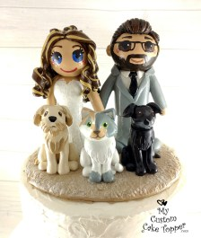 Bride and Groom Cat and Dogs Cake Topper