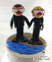 Bride and Groom Scuba Divers Cake Topper 1