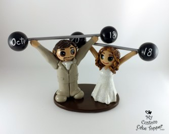 Bride and Groom Weightlifting Crossfit Cake Topper