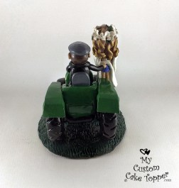 Bride and Groom Riding John Deere Tractor Hand on Bum Cake Topper 2