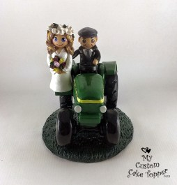 Bride and Groom Riding John Deere Tractor Hand on Bum Cake Topper 1