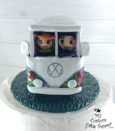Bride and Groom in Hippie Volkswagon Bus Cake Topper 1