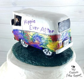 Bride and Groom in Hippie Volkswagon Bus Cake Topper 2