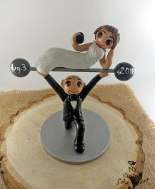 Bride and Groom Crossfit Cake Topper
