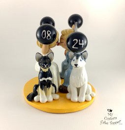 Bride and Groom Weightlifting with Dogs Cake Topper