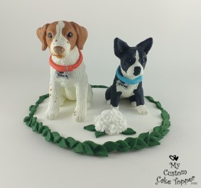Boston Terrier and Brittany Dog Cake Topper