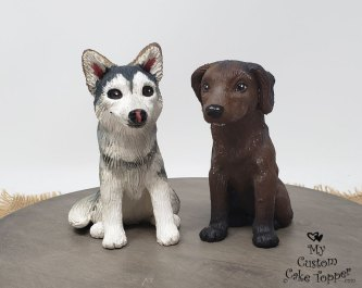 Dogs Husky and Lab Custom Cake Topper