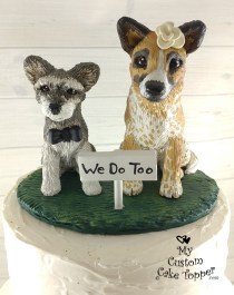 Red Heeler and Miniature Schnauzer Cake Topper