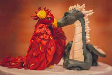 Krista and Brad's Phoenix and Dragon Cake Topper