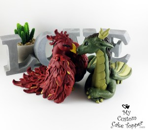 Dragon and Phoenix Cake Topper