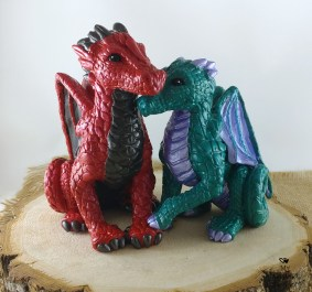 Red and Green Dragons Cake Topper