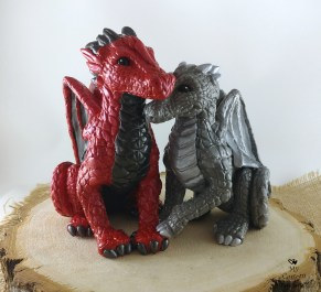 Red and Silver Dragon Cake Topper