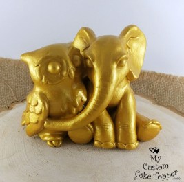 Elephant and Owl Golden Cake Topper