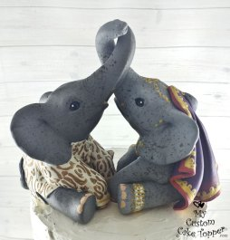 Elephants in Love Traditional East Indian Cake Topper