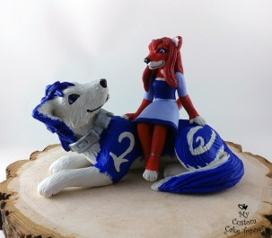 Fox and Wolf Anthro Custom Cake Topper
