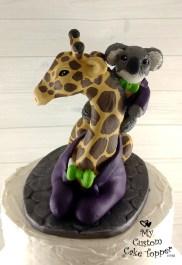 Mr and Mr Giraffe and Koala Cake Topper