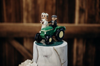 Hannah's Bride and Groom Tractor Cake Topper 3
