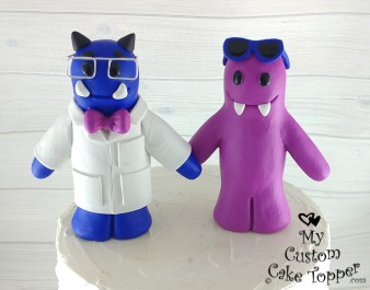 Monster Scientist and Bride Cake Topper
