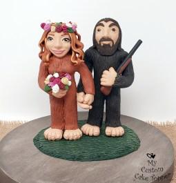 Sasquatch Bride and Groom Cake Topper