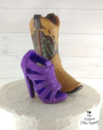 Glitter Heel and Cowboy Boot Cake Topper