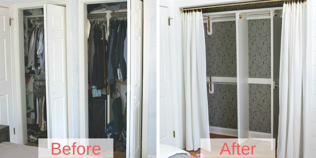 storage space with closet curtains