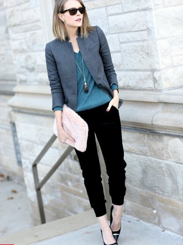 03-black-cropped-trousers-a-dark-green-jersey-a-grey-jacket-and-black-shoes