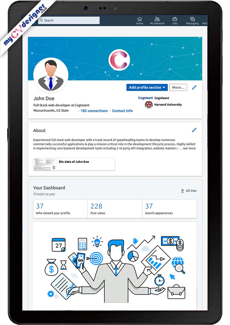 linkedin profile tablet sample