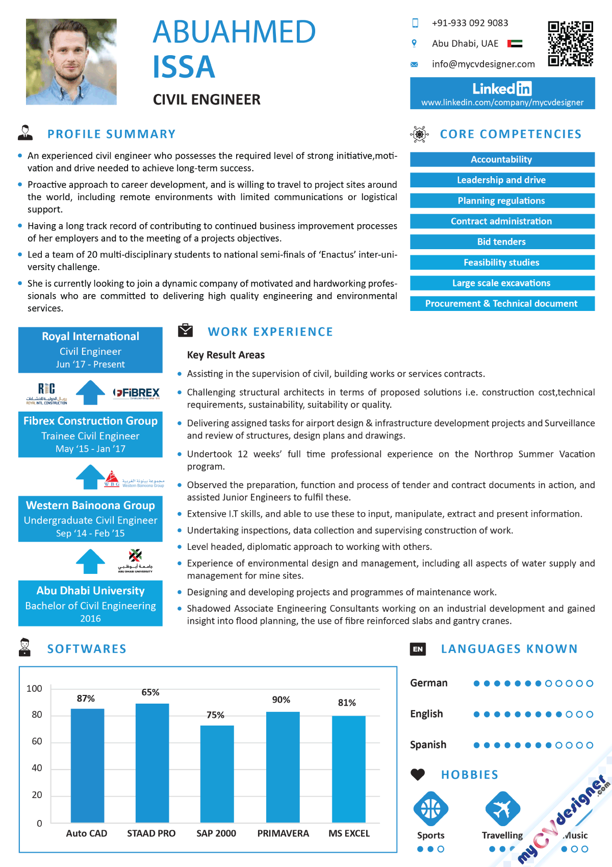Civil Engineer Infographic Resume Sample