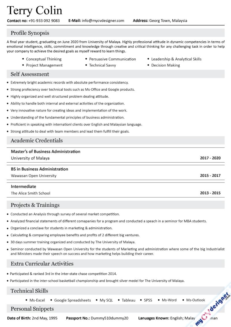 Fresher Text Resume Sample