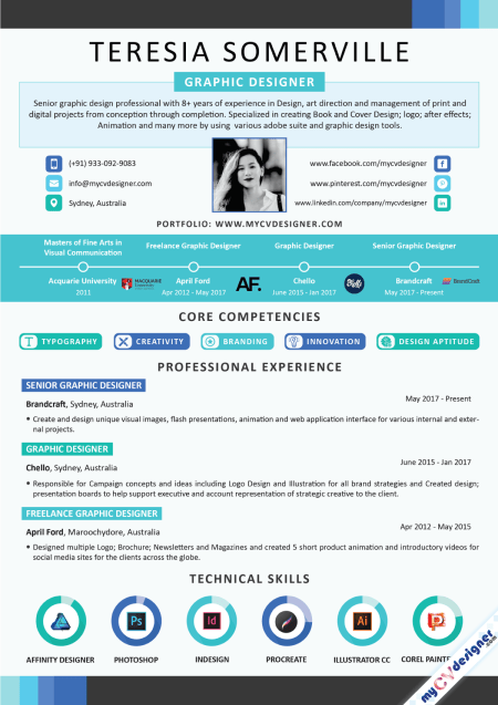 Graphic Designer Infographic Resume Sample