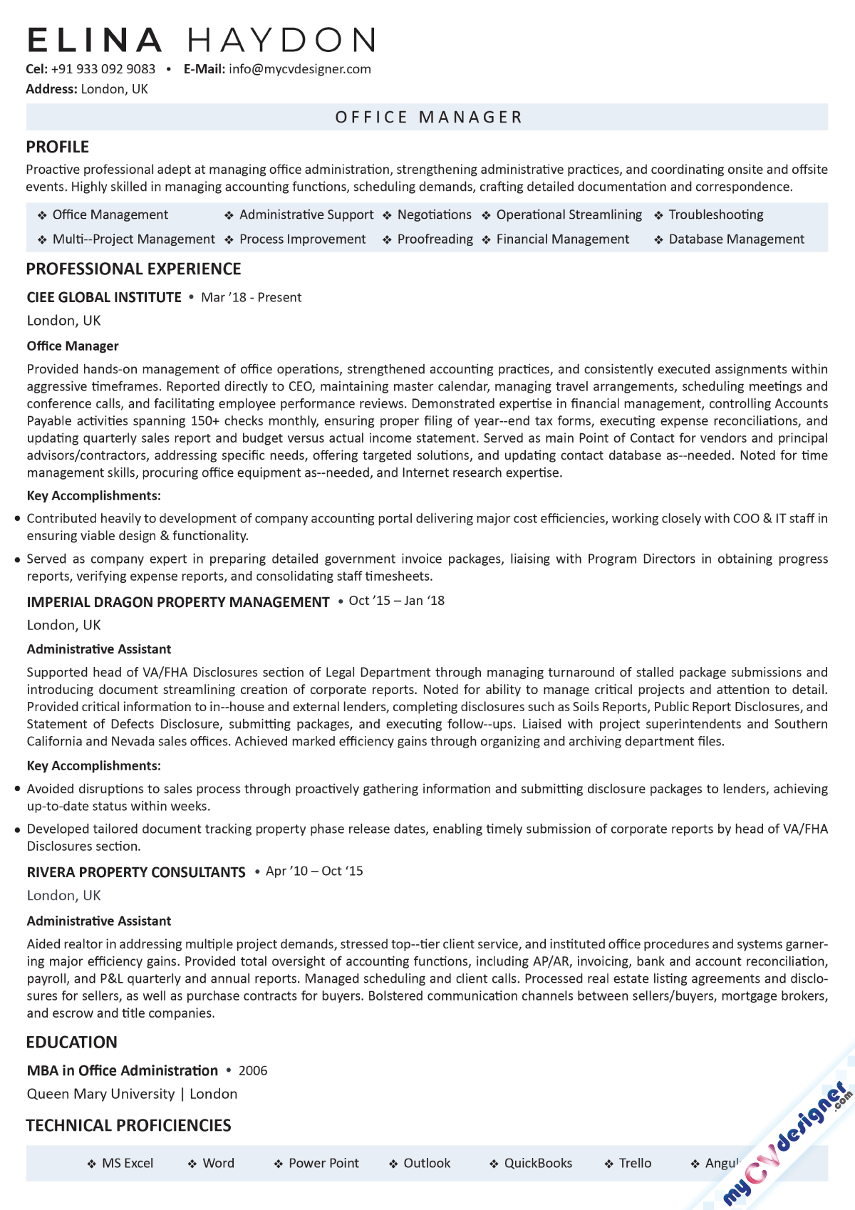 Office Manager Text Resume Sample