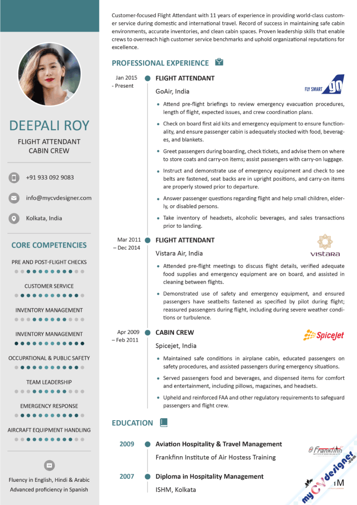 Flight Attendant Visual Resume Template
