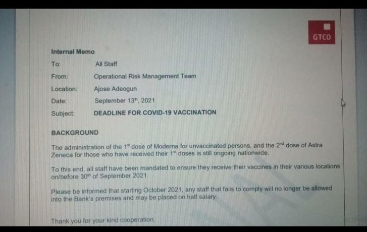 Covid-19 Fear Grips GTBANK, Workers Told To Get Vaccinated Or Get Sanctioned