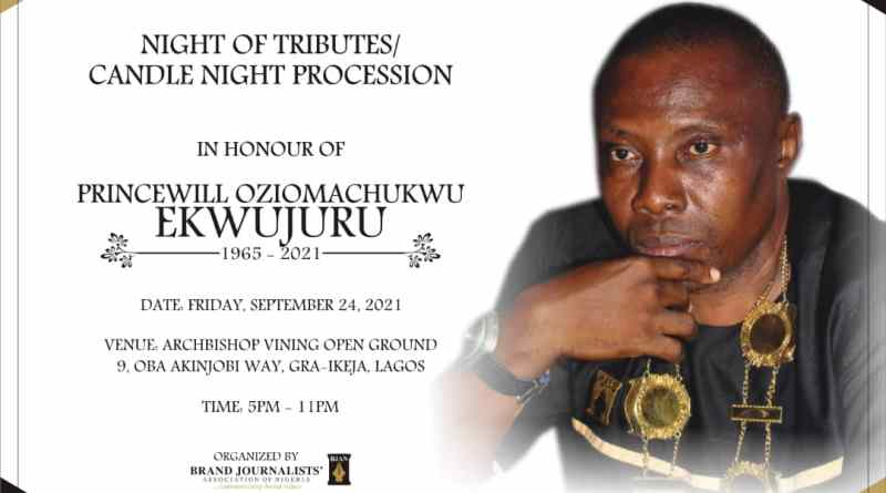 BJAN Holds Candle light Procession and Night of Tributes For Late Chairman, Ekwujuru in Lagos