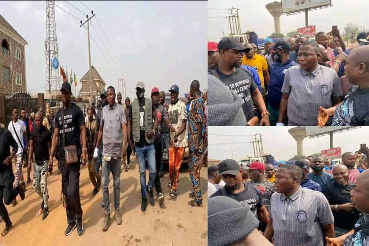 Igboho with supporters in Abeokuta on Monday 2