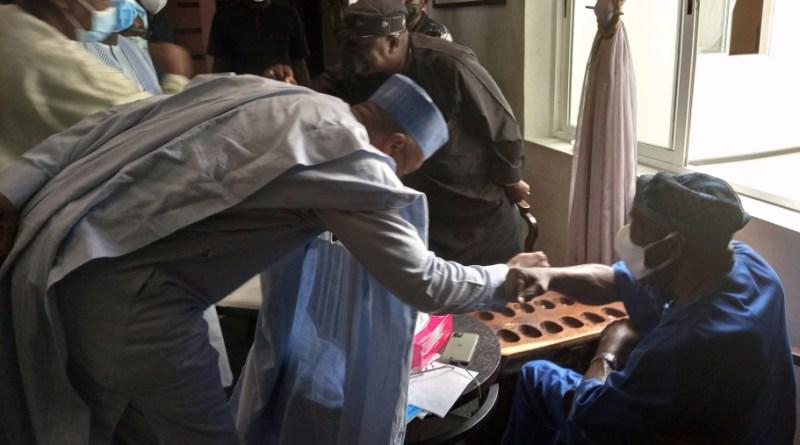 Saraki and Obasanjo exchange a handshake on Tuesday in Abeokuta