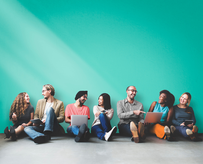 networking Diverse People Friendship Digital Device Copy Space Concept