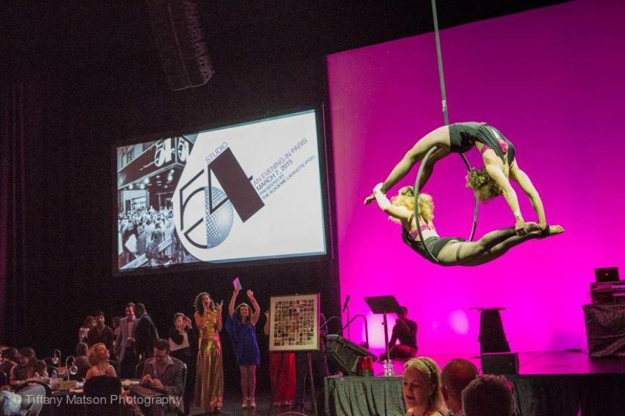 Elena (top) and aerial partner Jackie performing for a special event in Kansas City. Photo by Tiffany Matson.