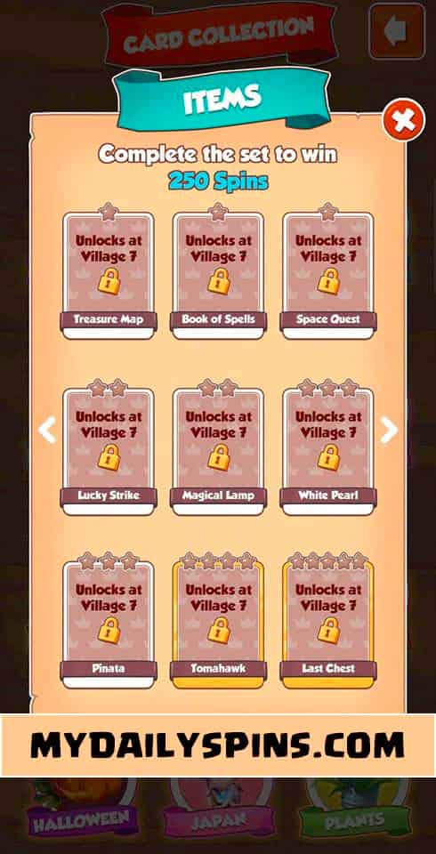 Coin Master items card sets(1)