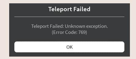 Roblox error code 769