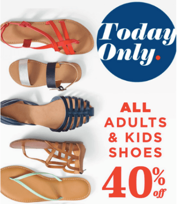 cbb85c0da3861 Today only, head over to your local Old Navy store where you can score 40%  off all Adults and Kids Shoes – this sale is valid in-store only.