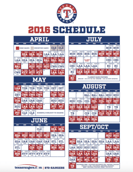 Striking image inside texas rangers schedule printable
