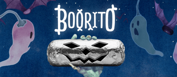 Come get ghoulish with us. Just go to any Chipotle in costume from 3pm to close, and you'll get a burrito, bowl, salad or order of tacos for only $3.Excludes online, iPhone, Android, fax or catering orders. Only one Boorito per person in costume. Promotion valid in all US, Canada and Europe restaurants.