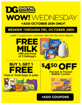 Dollar General Coupons Free Milk With Kellogg S Purchase 4 50 Off Variety Mix Candy More My Dfw Mommy