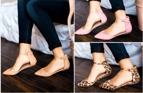 Ankle Strap Pointed Toe Flats Only $19