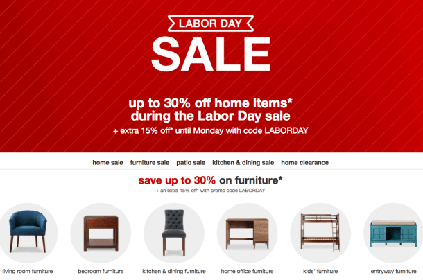 Target Labor Day Furniture Sale 30 Off Home Items Extra 15