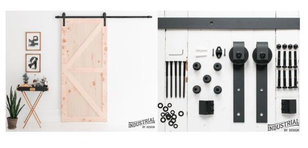 Industrial By Design Heavy Duty Sliding Barn Door Hardware Kit Only
